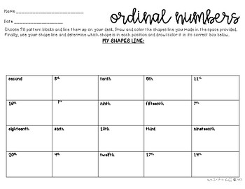 ORDINAL NUMBERS ACTIVITY/ASSESSMENT  (1-20)