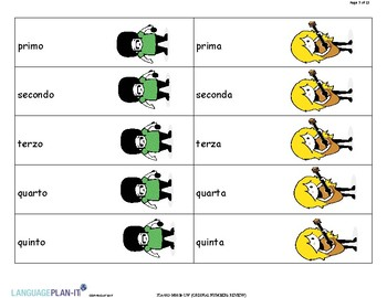 ORDINAL NUMBERS REVIEW (ITALIAN)