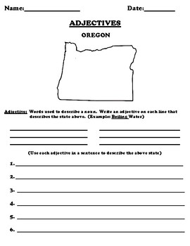 OREGON Adjectives Worksheet with Word Search