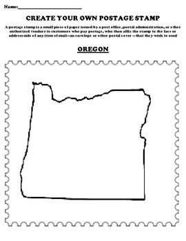 OREGON Create your Own Postage Stamp Worksheet