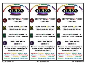 OREO Opinion Writing Bookmarks