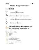 OREO Opinion Writing Graphic Organizer
