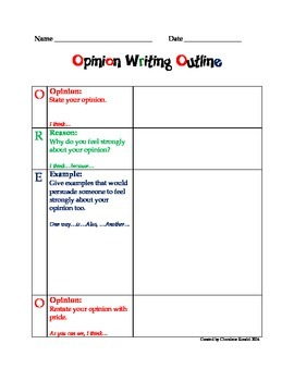OREO: Opinion Writing Outline (Updated with Second Page)