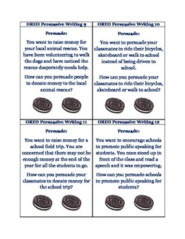 OREO Persuasive Writing: 52 Task Cards *Includes Answer Key!