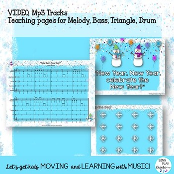 """Orff Game Song: """"New Year, New Year"""" Lessons, Music, Mp3 Tracks K-6"""