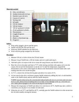 ORGANIC CHEMISTRY LAB: SAPONIFICATION REACTION (MAKING SOAP)