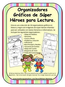 ORGANIZADORES GRAFICOS DE SUPER HEROES / SUPER HERO SPANISH GRAPHIC ORGANIZERS