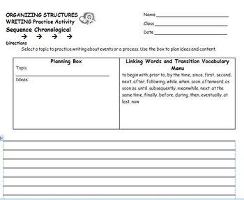 ORGANIZING STRUCTURES IN READING AND WRITING