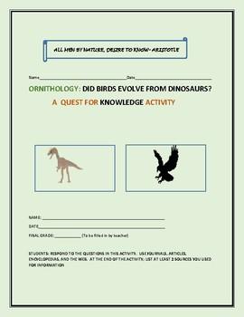 ORNITHOLOGY ACTIVITY: BIRDS AND DINOSAURS