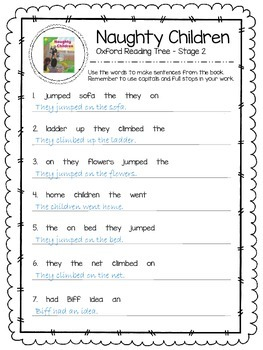 Oxford Reading Tree Stage 2 - Naughty Children Close Reading Activity