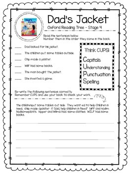 Oxford Reading Tree Stage 4 - Dad's Jacket Close Reading Activity