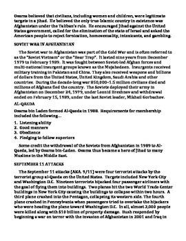 OSAMA BIN LADEN: Life, Ideology, Al-Qaeda, War on Terror (GRADES 9 - 12)