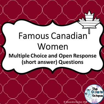OSSLT & OLC - Famous Canadian Women - Multiple Choice and Open Response Question