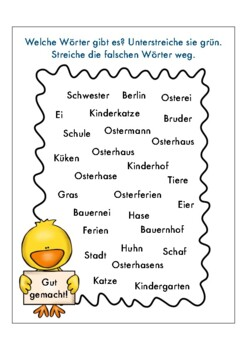 OSTERN 10 page German easter worksheets children: colors,family,holiday,animals