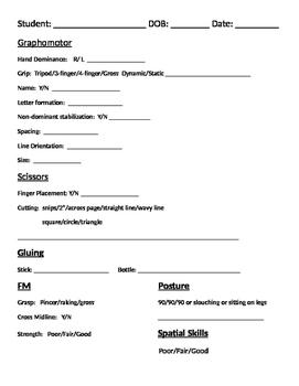 OT Activity Assessment Checklist