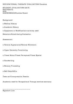 OT Evaluation Checklist Template