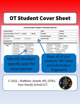 OT Student Cover Sheet - Intervention Plan