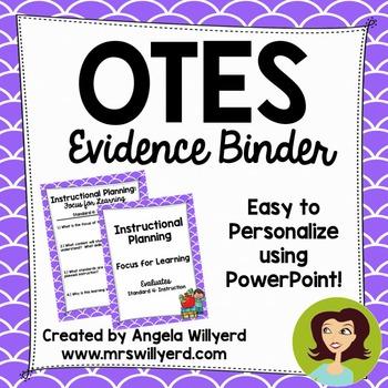 OTES Evidence Binder {Ohio Teacher Evaluation System} Lilac Background