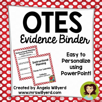 OTES Evidence Binder {Ohio Teacher Evaluation System} Red  with Vintage Dots