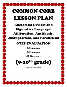 OTES LESSON PLAN WITH POST TEST RHETORICAL DEVICES FIGURES OF SPEECH