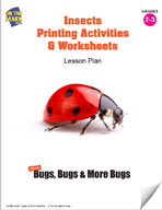 Insects Printing Activities and Worksheets Lesson Plan