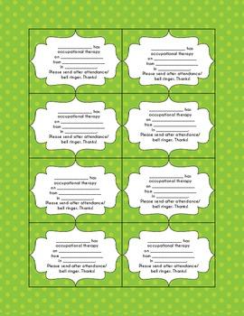 OTPT/SPEECH REMINDER CARDS