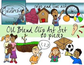 OU Blend Phonics Clip Art Set - Color and Line Art 20 pc set
