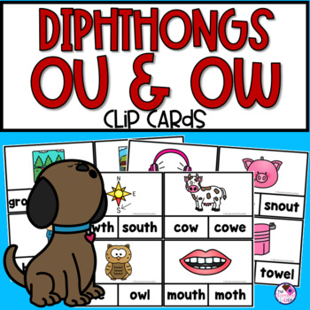 OU & OW Diphthong Clip Cards