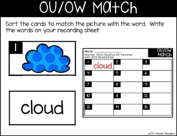 OU/OW Diphthongs Literacy Center Activity