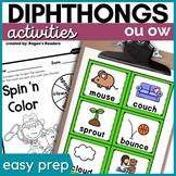 Diphthongs Phonics Activities - OU OW