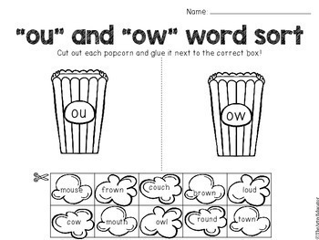 OU and OW Digraph Word Work