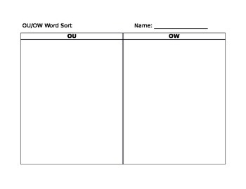 OU/OW word sort