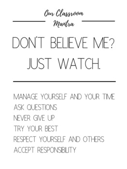 OUR CLASSROOM MANTRA POSTERS
