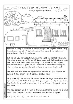 OUR HOUSE in the middle of the street - ESL prepositions, colours reading