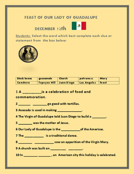 OUR LADY OF GUADALUPE FEAST DAY- DECEMBER 12TH