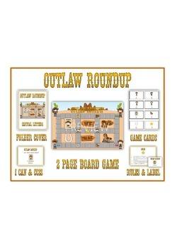 OUTLAW ROUNDUP Syllables - ELA First Grade Folder Game - Word Work Center