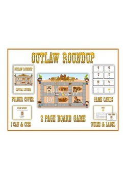 OUTLAW ROUNDUP Vowels - ELA First Grade Folder Game - Word Work Center