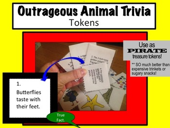 OUTRAGEOUS ANIMAL TRIVIA Tokens (Use as Pirate Treasure!)