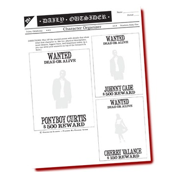 THE OUTSIDERS Character Organizer - Wanted Poster (by S.E. Hinton)