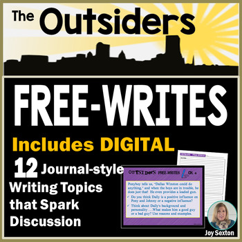 "The OUTSIDERS - Free-Writes Journal-style Writing Prompts with ""Free-Writes Log"""