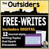 """The OUTSIDERS - Free-Writes Journal-style Writing Prompts with """"Free-Writes Log"""""""