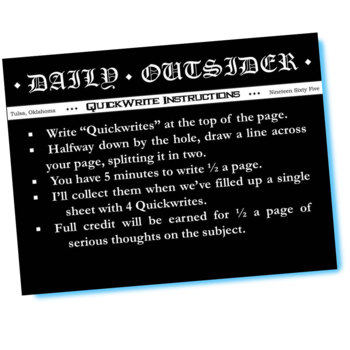 THE OUTSIDERS Journal - Quickwrite Writing Prompts - PowerPoint