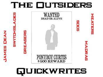 The outsiders writing teaching resources teachers pay teachers the outsiders journal quickwrite writing prompts powerpoint fandeluxe Images