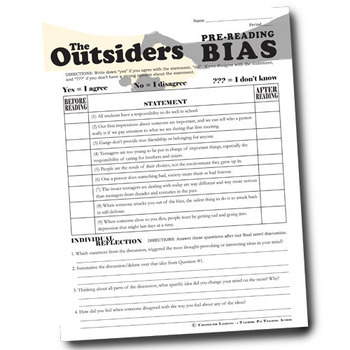 THE OUTSIDERS PreReading Bias Activity