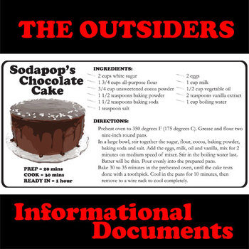THE OUTSIDERS Sodapops Cake Recipe Non Fiction Docs by Created