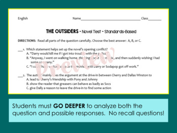 The OUTSIDERS Test - Whole Novel Test with Common Core Stems
