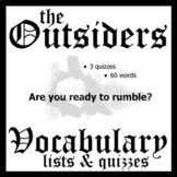 THE OUTSIDERS Vocabulary List & Quiz w/ Answer Keys (by S.E. Hinton)