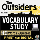 OUTSIDERS Vocabulary Study with Quizzes (S.E. Hinton)