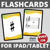 OVER 130 Large Music Symbols and notes FLASHCARDS to use on your Ipad/Tablet.