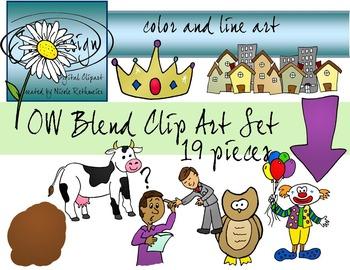 OW Blend Phonics Clip Art Set 1 - Color and Line Art 19 pc set